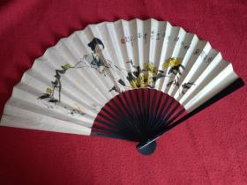 竹骨纸扇(80年代)扇面是李清照像
