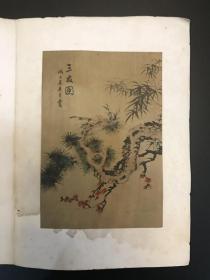 海上名家吴青霞1948年《三友图》绢本小镜心 附在贺年卡上