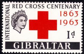 直布罗陀1963早期新票-图文:国际红十字会百年纪念-徽志-女王头像