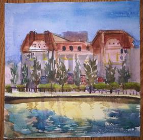 手绘纸本水彩画:无款河边风景(绘画时间不详)