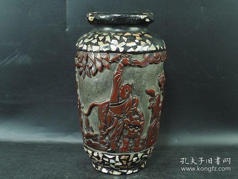 大清时代 中国古玩  整木制 漆器 螺钿象嵌人物纹花瓶 极上细工 唐物 古美术品