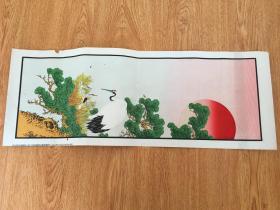 1892年日本铜版彩印《丹鹤朝阳图》一张