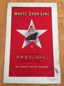 """【民国欧美书14】1910-1920年伦敦印刷:制造""""泰坦尼克号""""的英国白星航运公司《奥林匹克号邮轮》彩印宣传画,""""奥林匹克号""""和""""泰坦尼克号""""以及""""不列颠尼克号""""是同一时期(1908年)英国白星航运公司制造的三艘超级邮轮"""
