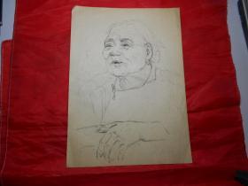 人物素描《慈祥的奶奶》(著名油画家顾祝君 1962年涉县速写)