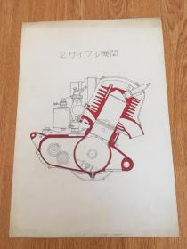 民国日本彩绘《2サイクル机关(2循环曲轴室压缩型机关?)》一张,双色手绘机械图