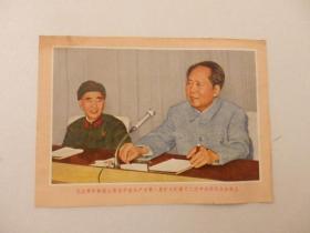 32开彩色画片   毛主席和林副主席在中国共产党第八届扩大的第十二次中央委会全会上