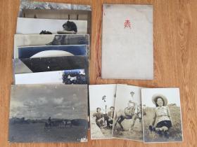 民国战时(1936年前后)奉天在留日本人纪念写真、草原牧民等照片12张,多是大幅写真30*25厘米
