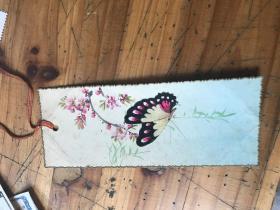 2771:手绘花 蝴蝶书签一枚