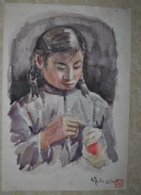 五十年代 吴作人 人物  水彩画