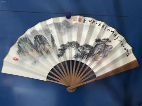 潘天寿先生再传弟子、中国美术协会理事,中国书画艺术协会副主席、国家一级美术师裴君一国画10寸成扇真迹 江山如此多娇