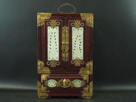 白玉镶嵌镀金宝石箱 极上细密细工 高约29.5cm 唐物 中国古代美术工艺 极美品 清时代馈赠之佳品 骨董+珠宝首饰 持续使用