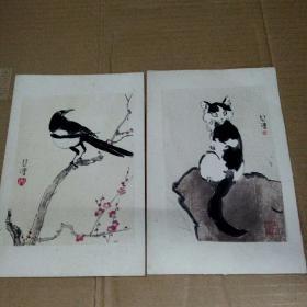 徐悲鸿 水印画《猫》《鸟》2幅 尺寸:18X12cm