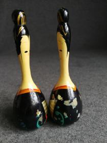 日本回流乡土小工艺品人物土铃