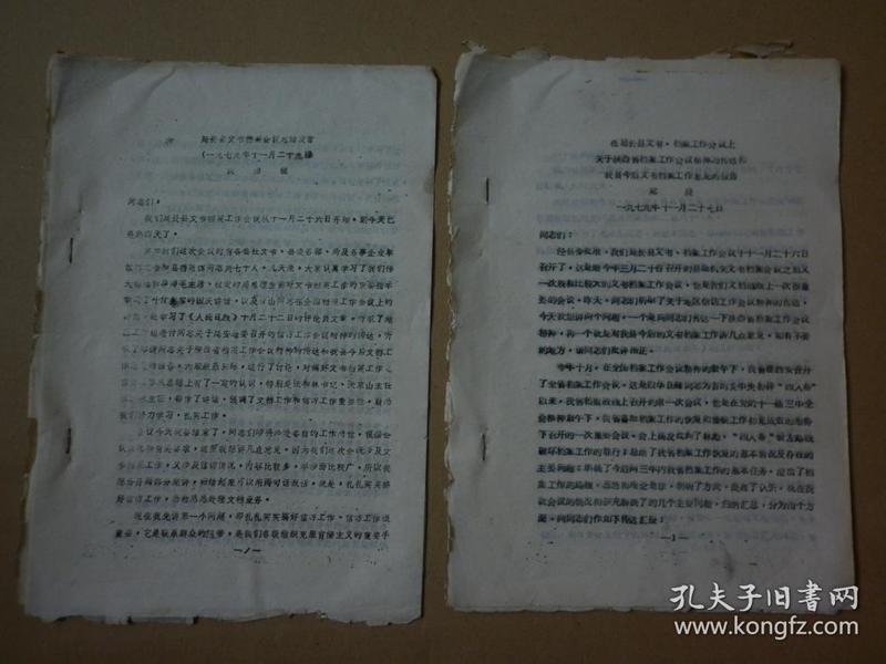 1979年11月陕西省延长县文书档案会议发言材料两份【品弱合售、附赠裁切纸片文章《没有木头的宫殿:皇史宬》、参阅描述】