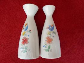 怀旧收藏 八十年代 陶瓷小酒壶 花朵图案印花 一对儿