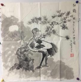 山东美协理事、山艺党委书记李宗伟国画松鹤图