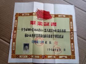 1964年长沙市第十六中学毕业证书