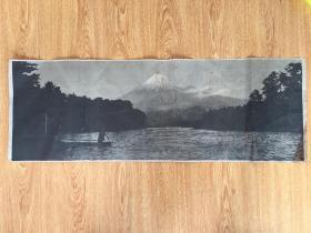 民国日本印刷《富士山湖》美景写真一幅,77*26.5厘米