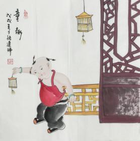 【保真】.【张连瑞】中美协会员、希望出版社副总编、美术编审、手绘三尺斗方人物作品(50*50CM)(童趣)1