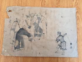 清代日本多人手绘【寿者图】一幅