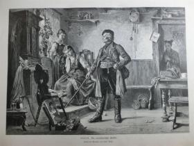【现货 包邮】1879年木刻版画《Die verräterische Studie》(Die verräterische Studie) 尺寸约40.8*27.5厘米(货号 101112)
