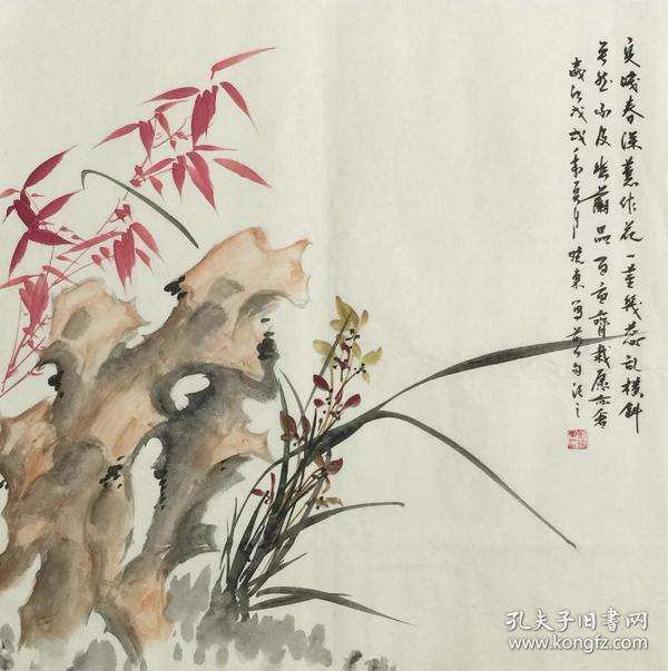 【保真】.【刘晓东】河北省美协会员、四尺斗方花鸟作品(68*68CM)3