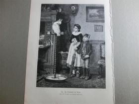 【现货 包邮】1879年木刻版画《孩子和鹦鹉》(Im vorzimmer des Arztes) 尺寸约40.8*27.5厘米(货号 101114)