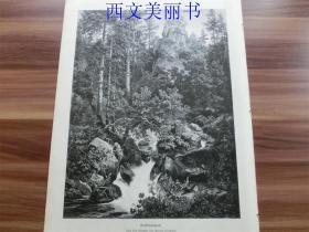 【现货 包邮】1885年木刻版画《森林景观》森林、山、水(Waldlandschaft) 尺寸约40.8*27.5厘米 (货号 18028)