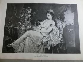 【现货 包邮】1879年木刻版画《朱莉娅塔普莱特》(Julia Tapulet) 尺寸约40.8*27.5厘米(货号 101118)