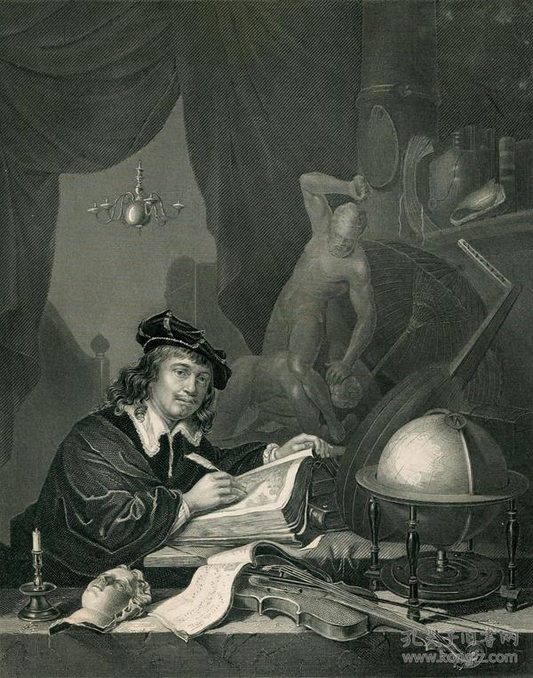 1850年钢版画《格哈德·唐》 27×20厘米