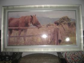 【杂209】《童儿戏骏图带镜框》长142宽82厚3.5(cm)品相美中不足磕碰破损 追求完美者慎拍。