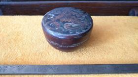 清代一木整凹彩绘木盒