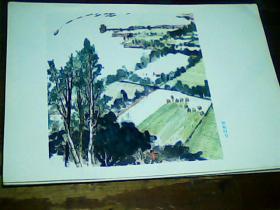 16开美术画页 《黄河》-插秧时节、9品。印刷品