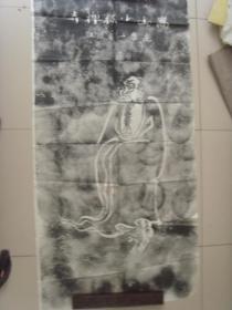 3--70拓片 嵩山少林禅寺 达摩一苇渡江,画像,8平尺,规格高136cm,宽68cm.】