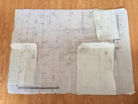 民国日本手绘《家宅建筑平面图》一幅,图上有天干地支标线,应该有建筑风水之讲究