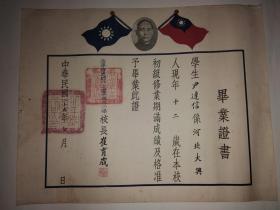 中华民国二十五年北平市立崇外上堂子胡同小学校毕业证书(1936,有孙中山像双旗)