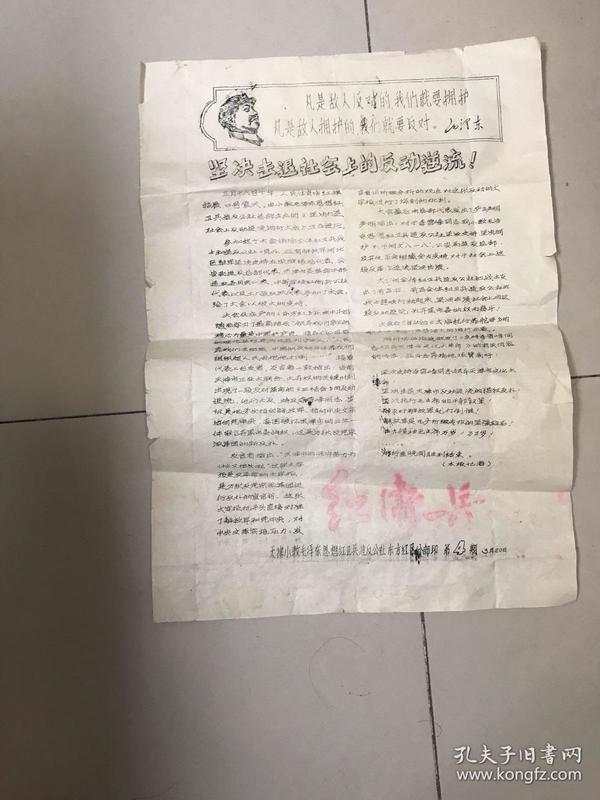 坚决击退社会上的反动逆流  天津小教毛泽东思想红卫兵造反公社东方红区分部印
