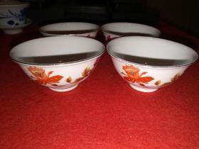 七八十年代,景德镇精美瓷碗——四只合售,全品。