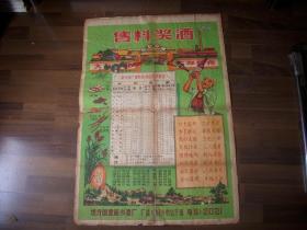 五十年代《售料奖酒》新乡酒厂广告宣传画!2开一大张!背面报纸托裱过,品如图