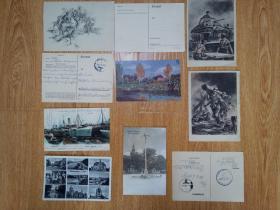 二战德国实寄明信片10张,年代是1940-1942年