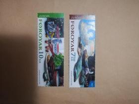 外国邮票 法罗群岛邮票2005年  2枚(乙8-1)
