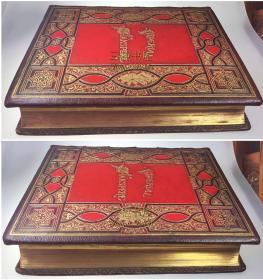 1873年【奢华殿版】《莎士比亚全集》2册全/原装摩洛哥真皮,三面刷金,竹节书脊,大理石花纹纸彩衬,开本宏阔,精美版画/Works of Shakespeare[Shakespere]/净重13.2公斤