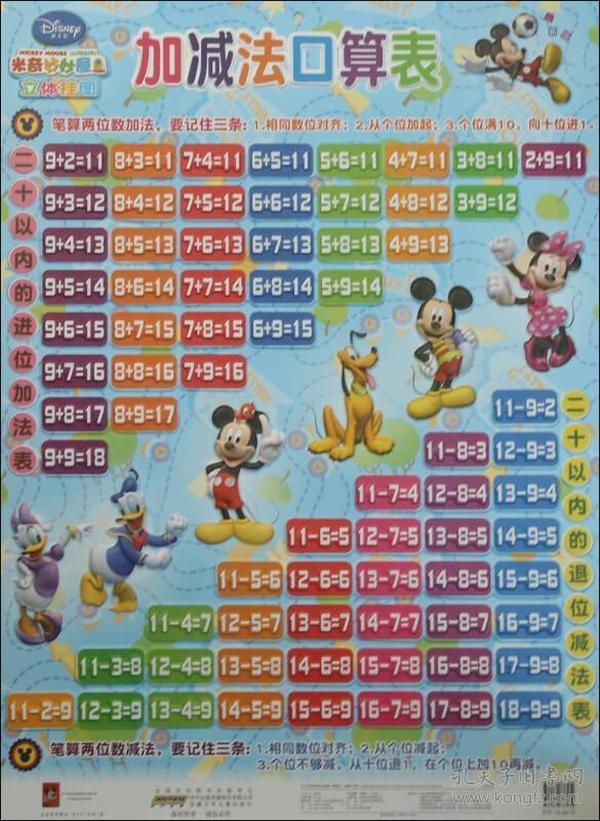 加减法口算表 迪士尼米奇妙妙屋立体挂图(最新版)-收藏与鉴赏 法文