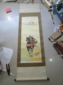 日本人物画一幅,一人骑马,已装裱