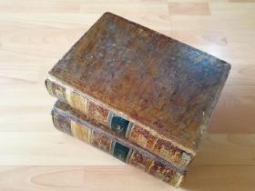1821-1825年一版《维也纳美景宫画廊版画集》2卷(四卷合二)齐--207幅整页铜版画图版--德法双语,牛皮原封,品相完美
