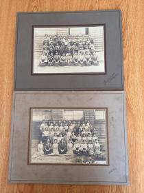 1921年日本《女子学校师生纪念合影》两张,照片裱帖在一张厚纸板上