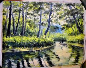 精品油画:林中的河
