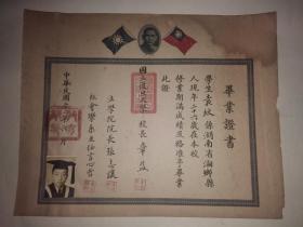 中华民国22年国立复旦大学毕业证书