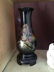 出口创汇时期老漆器脱胎漆器70年代老物件木胎大漆手绘山水净瓶花瓶绝版收藏