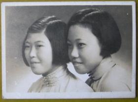 民国老照片:美女。民国26年,有背题。【上海新陆师范学校毕业、上海粤东中学教员——宗品华小姐私藏民国旗袍美女系列】